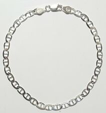 """925 Sterling Silver Flat Mariner Gucci Link Ankle Bracelet 9"""" inch Long Italy"""