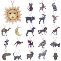 Charm Printing Flower Animal Cat Horse Dog Sun Moon Pendant Necklace Jewellery