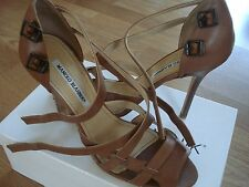 MANOLO BLAHNIK brown leather open-toe shoes 40 in box - GORGEOUS