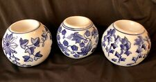 Set of 3 Blue & White Centrum Ceramics Chinoiserie Tea Light Candle Holders