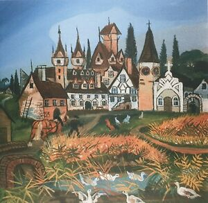 Antonio Ligabue, Swiss Landscape with Animals, Plate Signed Lithograph