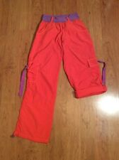 ZUMBA Workout Athletic Roll Up Pants - Womens Orange With Purple Size M