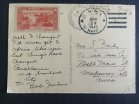 1943 US Navy Postcard Cover to USA USS Buck Free Mail Casablanca Morocco