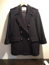 Vintage Jaeger Navy Wool Pea Coat Woman's Size 8 Large