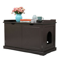 Cat Litter Box Wood Cabinet Bench Enclosure Hidden Toilet House Furniture Cover
