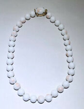 Crown Trifari White Angel skin coral Beaded Vintage Necklace