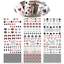 Nail Art Water Transfer Decal Tattoo Sticker Butterfly Knot Playing Cards DIY