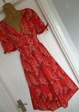 Vintage 1940s WW2 Red Floral Cherry Blossom Landgirl Repro Tea Dress UK 14 16