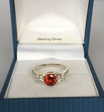 UK Sterling Silver created Ruby & Diamond Trio Engagement style Ring Sizes L - S