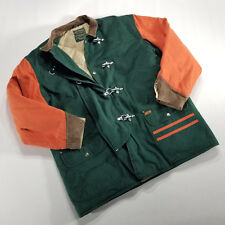 VTG Ralph Lauren Polo Country Toggle Down Coat Green Orange XL Canvas Leather