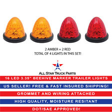 2x Red 2x Amber Beehive Side Marker Clearance Light Grommet Light Trailer 16-LED