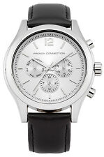 French Connection FC1144S Silver Dial Black Leather Strap Unisex Quartz Watch