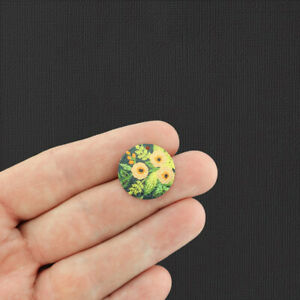 4 Yellow Floral Gold Tone Shimmer Enamel Charms - E187