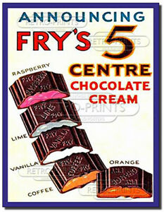 Frys 5 Centre Chocolate Vintage/Retro Metal Wall Sign Advert/Poster