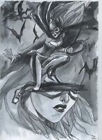 Original idea art Batgirl *Albert Stone Gallery* drawing by Ladin comics a01080