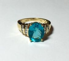 Iliana TJC UK 18K Yellow Gold Natural Apatite Diamond Ring Sz 7.5
