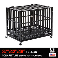 "37""/42""/48"" Dog Crate Kennel Large Heavy Duty Cage Square Tube w/Wheels & Tray"