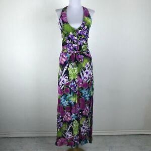 Vintage 1980s Carol Anderson Hawaiian Dress Halter Size M to L Floral Multicolor