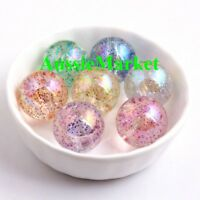 50 x loose glitter clear beads craft necklace jewellery making plastic 10mm new