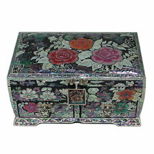 Mother of Pearl Pink Rose Lacquer Wood Treasure Jewelry Earrings Ring Box Case