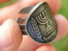 Jewish ring  Hebrew Israel coin Menorah sterling silver  nice Hanukkah gift