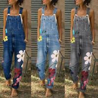 Women Fashion Flower Denim Bib Pants Strap Long Romper Jumpsuit Ladies Trousers