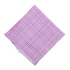 NWT RODA for Jacques Britt Lavender Plaid Check Print Linen Pocket Square
