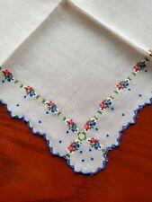 New listing Vintage Ladies Hankie Embroidered Blue Floral