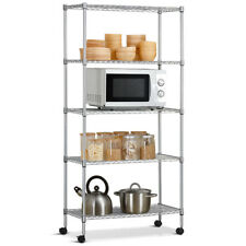 Commercial 5 Layer Shelf Adjustable Steel Wire Metal Shelving Rack w/ Wheels