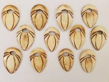 12 pcs Native Tribal Shield Genuine Natural Bone Carved Craft Jewelry Pendants