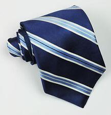 Tommy Hilfiger Silk Tie College Striped Navy Blue Silver Grey Ivory Designer Men