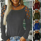 Women Sexy Cold Shoulder Tops Blouse Ladies Long Sleeve Casual Shirt Pullover US