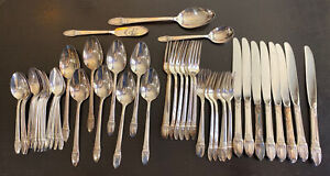 1847 Rogers Bros IS FIRST LOVE Silverware Flatware Silver Plate 51 Pieces