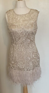Gold/ Ivory Lace Dress With Ostrich Feather Trim Hem