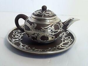 Vintage Brown Ceramic Yixing Chinese Overlay Metal Dragon Tea Pot And Saucer