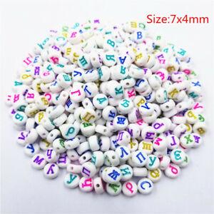100Pcs Acrylic Multicolor Cube Alphabet Loose Beads DIY Jewelry Russian Letter