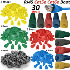 RJ45 Cat5e Cat6 Network Ethernet Cable Plug Connectors - 5 Colors 30 Boots Lot