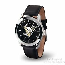 Pittsburgh Penguins CLASSIC Watch Team Color Logo Black Leather Band NHL Hockey