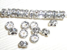 200 Swarovski Rondelle Spacer Beads 6mm Silver/Crystal
