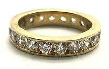 Sterling Silver Gold Tone Channel Set CZ Pave - Eternity Cocktail Band Ring 6.75