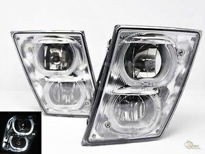 Chrome LED Halo DRL Fog Lights For 2004-2017 Volvo VNX VNL 1 Pair