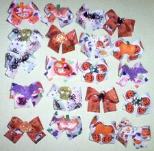 SM-MED 20 Decorated Halloween Dog Bows top quality ribbons Dog Grooming Bows USA