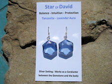 Tanzanite Aura Quartz Star of David Earrings-Intuition and Creativity