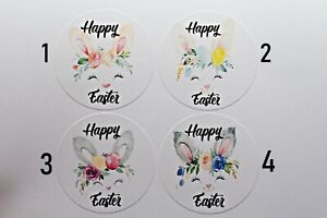 24 Easter Bunny Gift Stickers Seal Label Glossy 45mm
