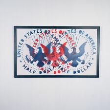 QUADRO ORIGINALE HALF DOLLAR FRANCO ANGELI 70X120 ITALIA 1980 ARTE CONTEMPORANA