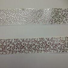 "White/Silver Foil Small Swirl pattern 7/8"" Printed Grosgrain Ribbon 1m"