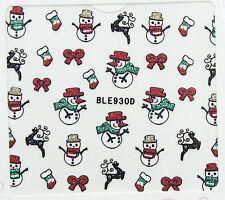 Christmas Silver Glitter Snowman Reindeer Bows Shocks 3D Nail Art Stickers