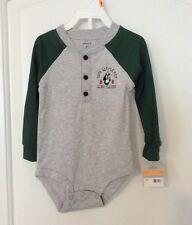 "NEW CARTERS 12M BOYS LONG SLEEVE ONE PIECE Penguin ""Cool Little Guy Like Daddy"""