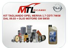 KIT TAGLIANDO OPEL MERIVA 1.7 CDTI 74KW DAL 09.03 + OLIO MOTORE GM 5W30