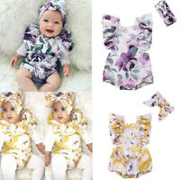 Newborn Infant Baby Girl Floral Print Romper Headband Bodysuit Clothes Outfit